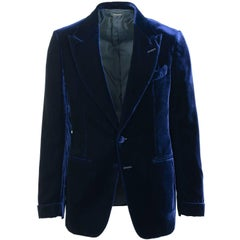 Tom Ford Dark Blue Velvet Peak Lapel Shelton Cocktail Jacket Sz58R/48R RTL $3980