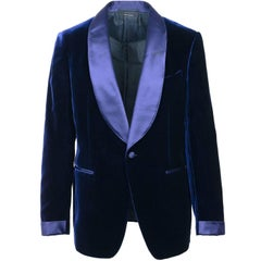 Tom Ford Dark Blue Velvet Shawl Lapel Shelton Cocktail Jacket
