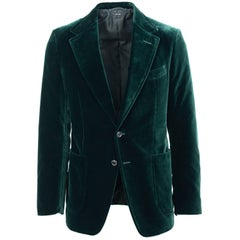 Tom Ford Dark Green Velvet Peak Lapel Shelton Sport Jacket Blazer E 48R US 38R