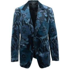 Tom Ford Mens Dark Blue Floral Velvet Shelton Jacket Sz 52R/42R RTL$4640