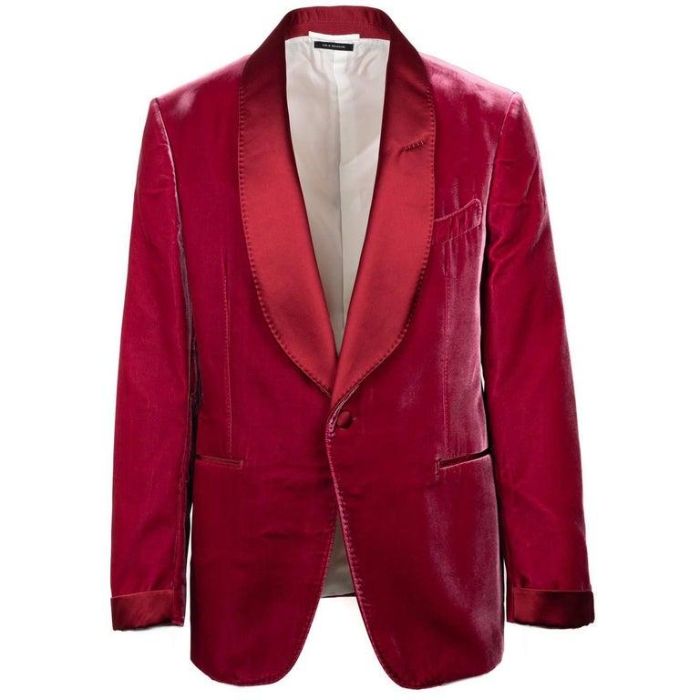 Tom Ford Red Velvet Shawl Lapel Shelton Cocktail Jacket Sz52R/42R RTL$3980