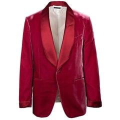 Tom Ford Red Velvet Shawl Lapel Shelton Cocktail Jacket Sz54R/44R RTL$3980