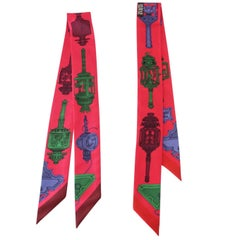 Hermes Twilly Merveilleuses Lanternes Silk Scarf Set of 2 Fuschia