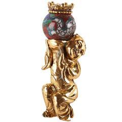 Asian Inspired Auspicious Gilt Figural Brooch