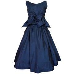 1950s Pauline Trigere Blue Silk Taffeta Cocktail Skirt, Top & Sash