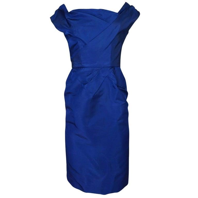 Ceil Chapman Slight Off Shoulder Fitted Blue Silk Dress, 1950s