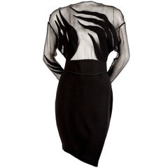 Thierry Mugler black crepe dress with sheer bodice, 1990s