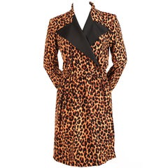1990's YVES SAINT LAURENT silk tuxedo dress with leopard print