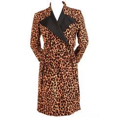 1990's YVES SAINT LAURENT silk tuxedo dress with leopard print