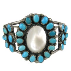 Pawn Navajo Sterling Silver Turquoise - Mother of Pearl Bracelet