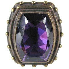 1990s Stephen DWECK Sterling silver Bronze Faceted Amethyst Ring, Never Worn
