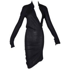 Alexander McQueen Runway Sheer Black Plunging Asymmetrical Dress, F / W 1997