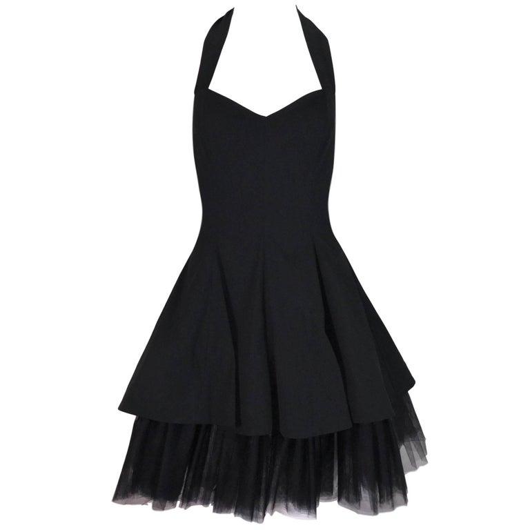 Dolce & Gabbana Documented Halter Ballerina Black Crinoline Mini Dress, S/S 1992