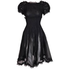 Fendi Sheer Black Babydoll Ruffle A-Line Dress