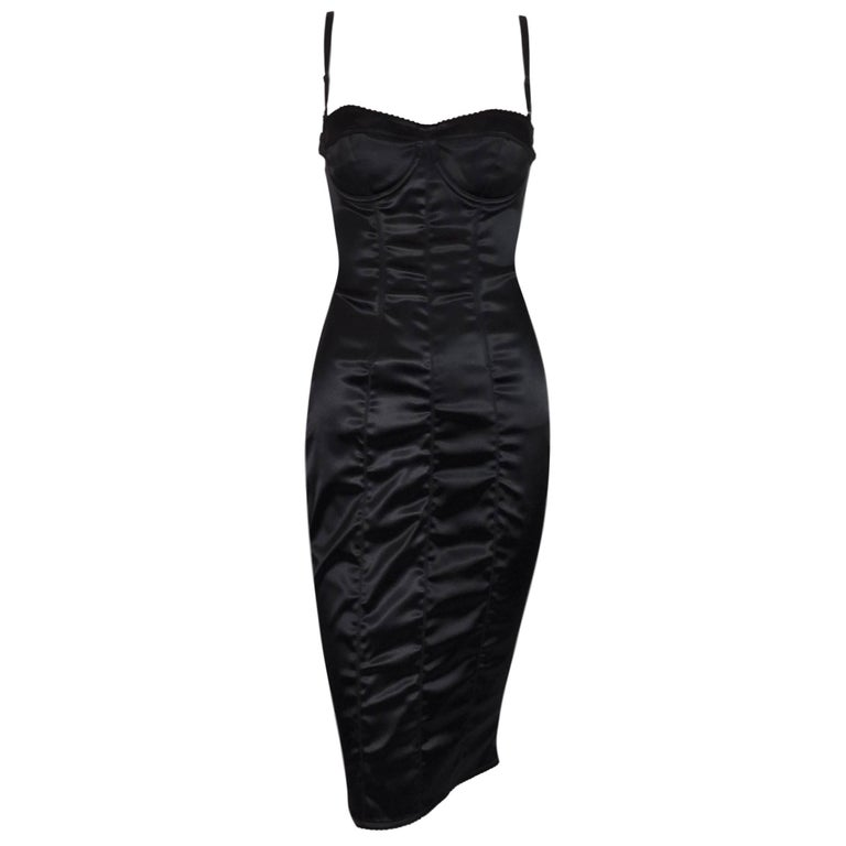 Dolce & Gabbana Black Corset Pin-Up Wiggle Dress, 1996