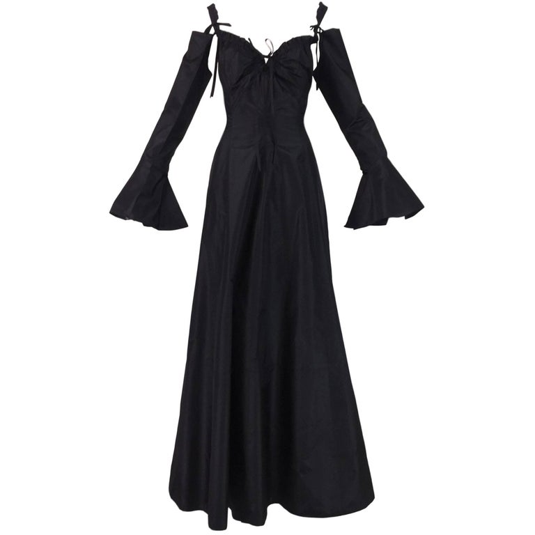 Gianfranco Ferre Black Steampunk Goth Cut-Out Black Gown Dress, 1990s