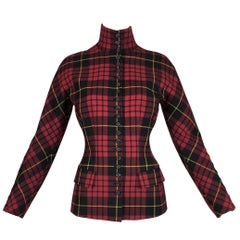 "Alexander McQueen ""Joan"" Runway Red Tartan Plaid Jacket, F / W 1998"