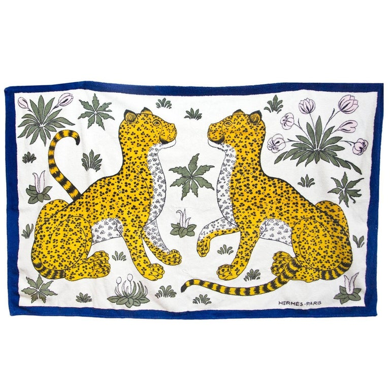 Hermes Blue Leopards Beach Towel rt. $600