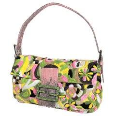 New Vintage Fendi Hand Sewn Embroidered Lizard Baguette Bag
