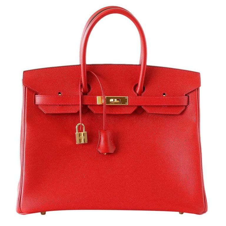 Hermes Birkin 35 Bag Rouge Casaque Epsom Coveted Gold Hardware For Sale