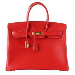 Hermes Birkin 35 Bag Rouge Casaque Epsom Coveted Gold Hardware