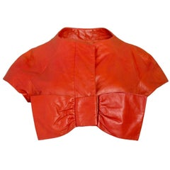 Moschino Cheap & Chic Red Leather Cropped Bow Jacket Sz 10