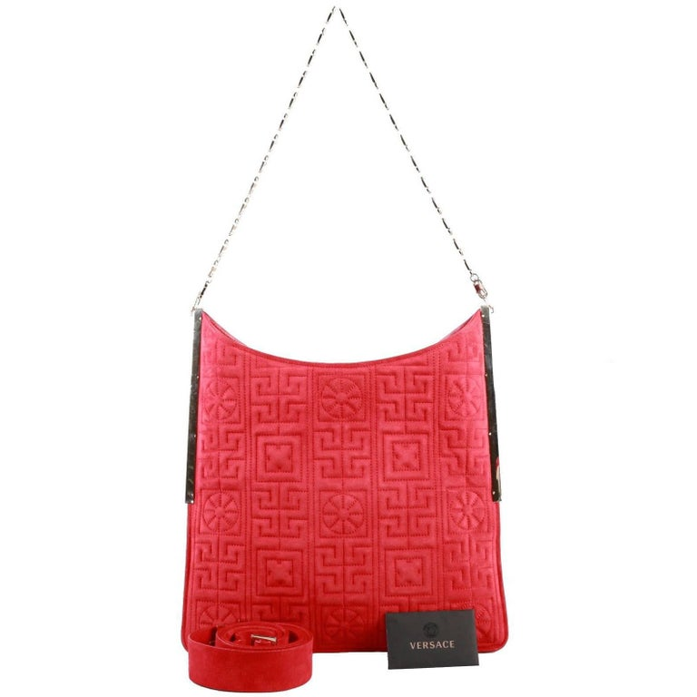 Versace #GREEK red suede leather shoulder bag