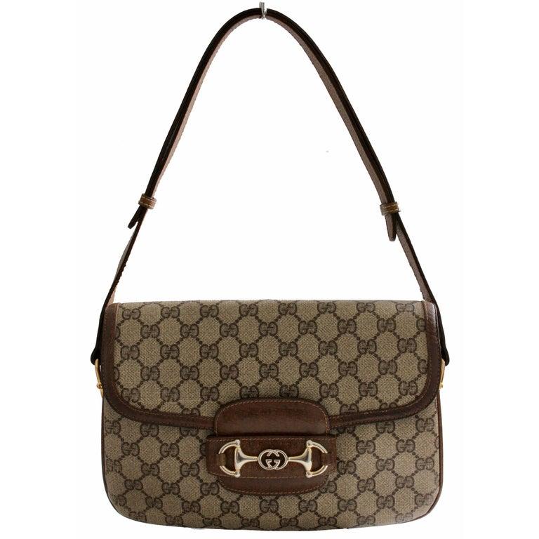 Gucci Shoulder Bag Logo Canvas Brown Leather Trim with Horse Bit Flap 1970s Rare