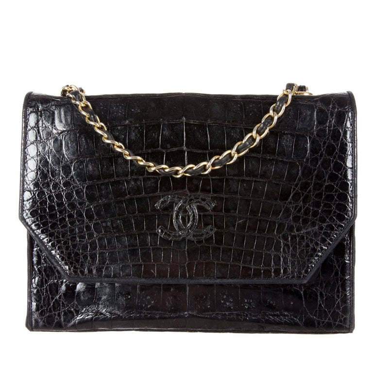 Chanel Black Crocodile Leather Gold Evening Crossbody Shoulder Flap Bag For Sale