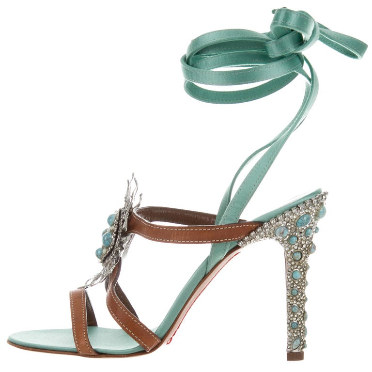 Valentino New Turquoise Swarovski Crystal Bead Evening Heels Sandals