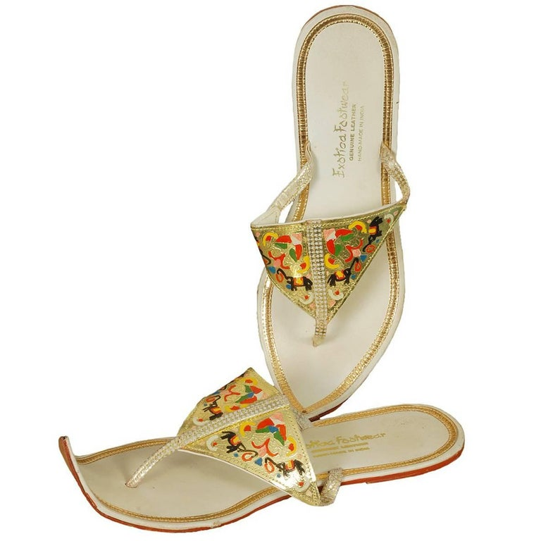 Hand Painted Persian Toe Flat Thong Sandals, 1950s