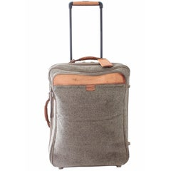 Hartmann Luggage 25in H Expandable Roller Suitcase Tweed & Leather 1970s Vintage