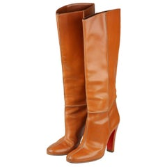 CHRISTIAN LOUBOUTIN Tan Leather Knee Lenght Boots Size 39