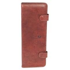 THE BRIDGE Brown Leather TRAVEL TIE CASE Necktie Holder RACK