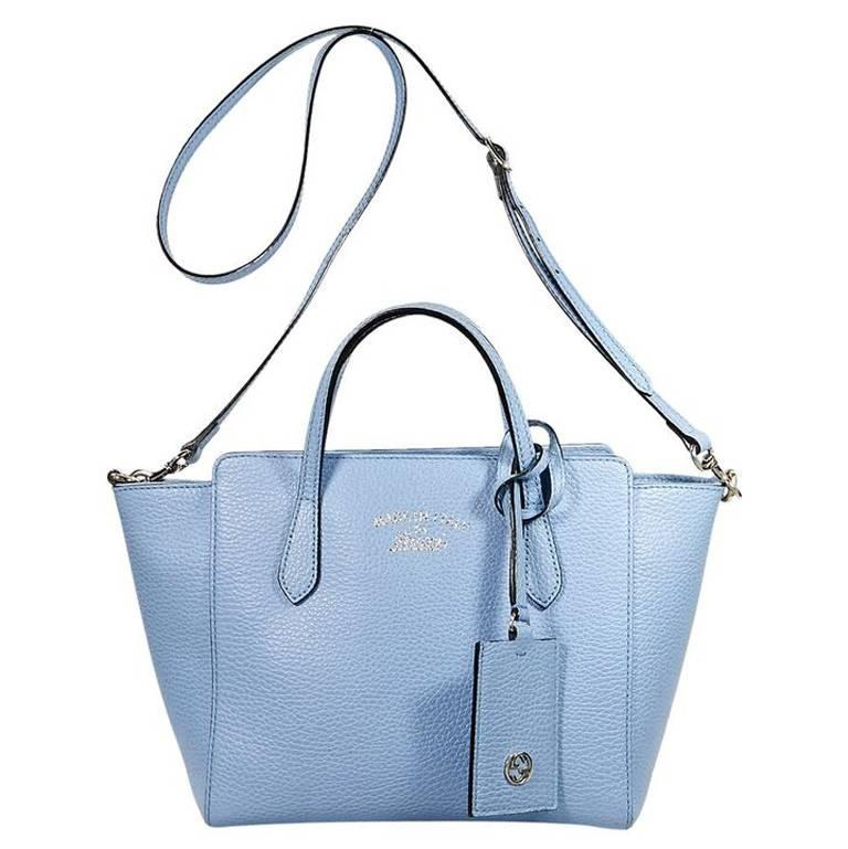 Light Blue Gucci Leather Swing Bag