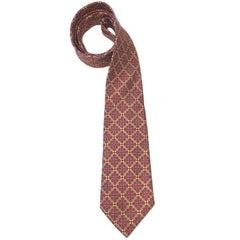 HERMES Tie in Printed Fuchsia Silk