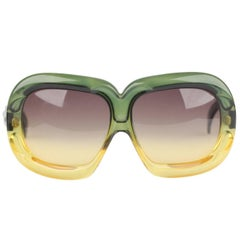 CHRISTIAN DIOR Vintage OPTYL Green Yellow Oversized Mint Sunglasses