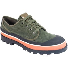 Valentino Mens Green Perforated Canvas ID Low Top Sneakers