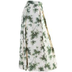 1960s Couture Silk Bamboo Ivory Green & Gold Leaf Print Maxi Side Pleat Skirt