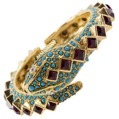 Kenneth Lane KJL Faux Ruby Turquoise Snake Statement Cuff Bracelet