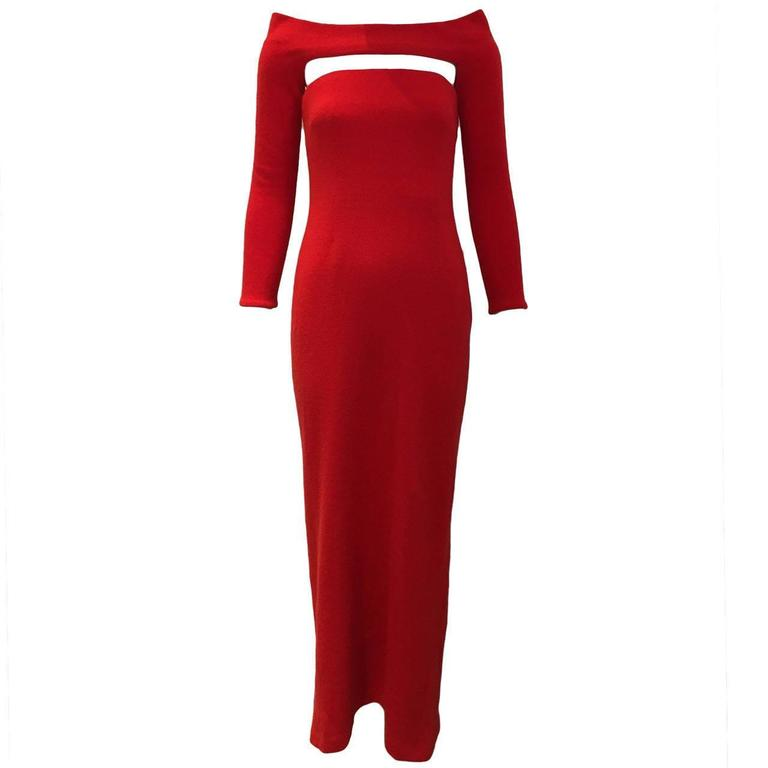 90s Bill Blass red cashmere dress with shrug