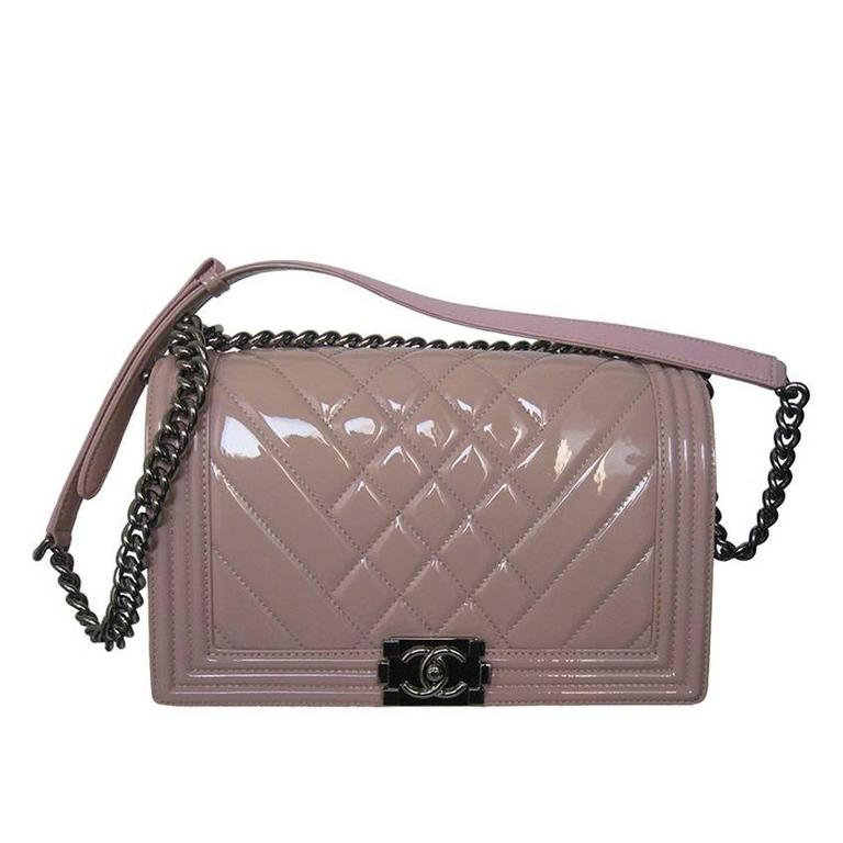 Chanel Pink Patent Leather Medium Chevron Quilted Boy Bag For Sale