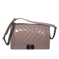 Chanel Pink Patent Leather Medium Chevron Quilted Boy Bag