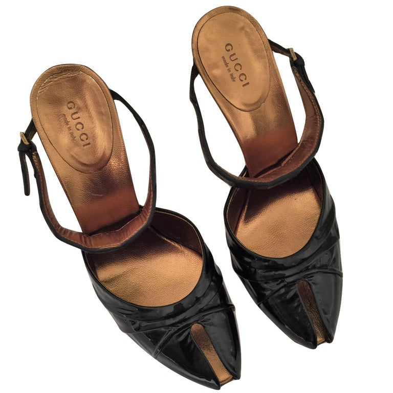 Gucci Patent and Crocodile Heels Mules  For Sale