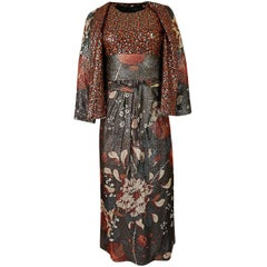 Bill Blass Floral Print Metallic Lurex and Sequin Dress Set, 1960s