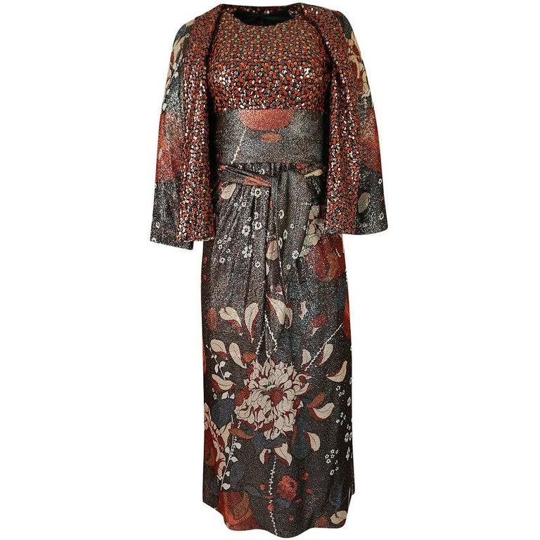 Bill Blass Floral Print Metallic Lurex and Sequin Dress Set, 1960s