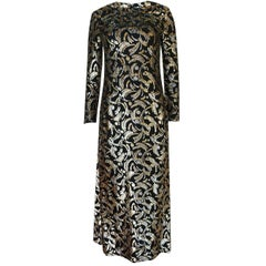 Galanos Metallic Silver and Gold Lurex on Black Silk Dress, 1970s