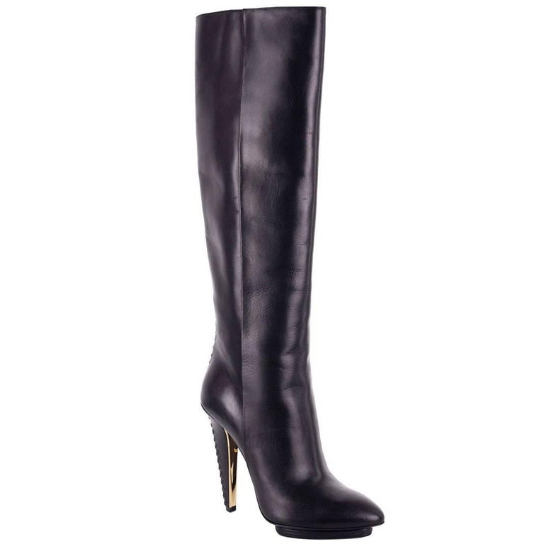 Roberto Cavalli Black Women's Leather Knee High Boots