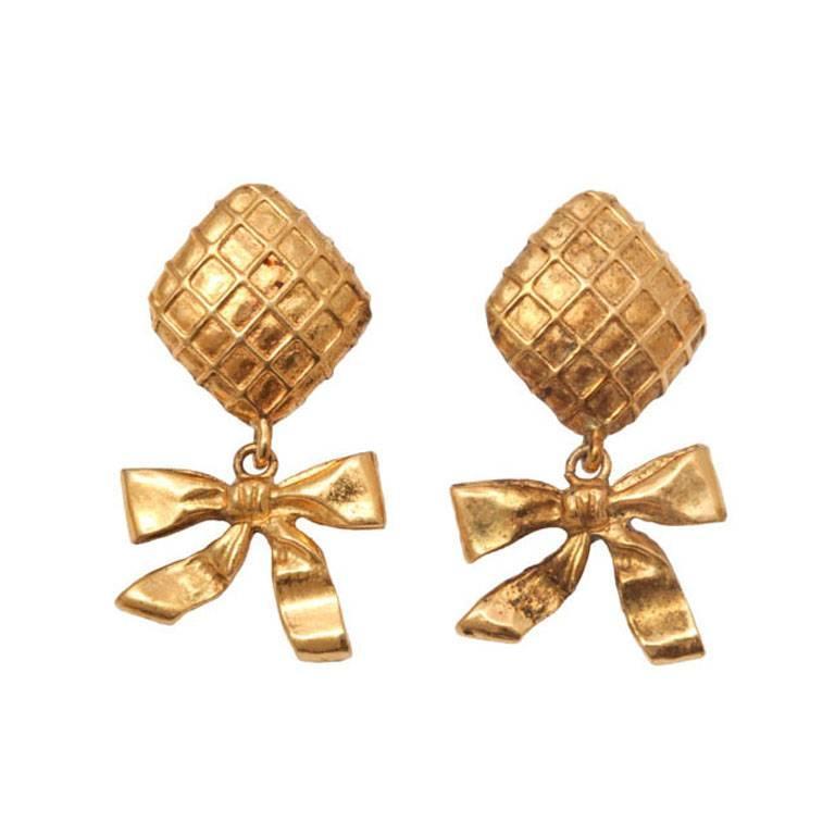 Chanel Bow Dangling Earrings 1