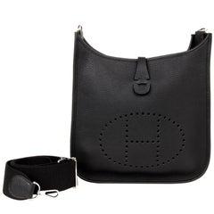 Hermes Bag Evelyne PM Black Clemence Palladium